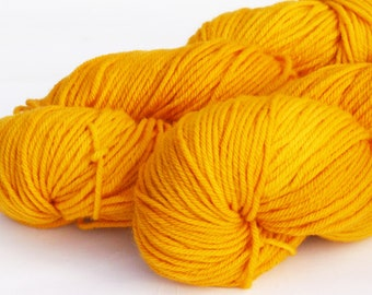 Hand dyed yarn 120g Double knit weight 100% Superwash Merino - gold