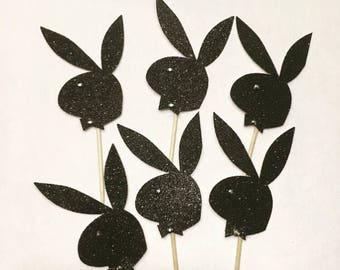 Playboy Bunny Cupcake Topper- bridal shower- Cupcake Toppers- Bridal Shower Cupcake toppers- Playboy Cupcake Topper