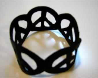 Recycle inner tube Peace sign bracelet, Upcycled bike tire Peace bracelet,Repurposed rubber Peace bracelet
