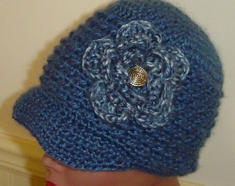 Womens Newsboy Beanie With Brim and Crochet Flower