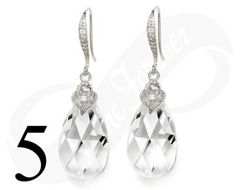 Set of 5 Bridesmaid Earrings Crystal Earrings Set of 5 Bridesmaid Gifts Teardrop Earrings Crystal Bridal Jewelry Wedding Jewelry Gift