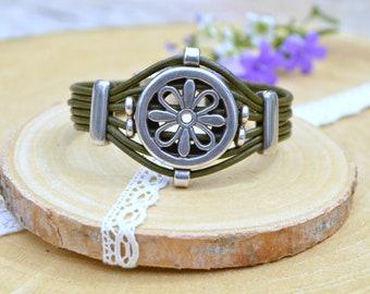 Celtic Leather bracelet Gift for her Bracelets for women Hippie Viking Handmade jewelry Birthday gift girlfriend Cuff bracelet Boho jewelry