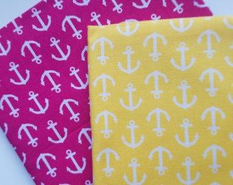 WV Pre Cut Fat Quarter Anchor-Sunshine Yellow or Magenta Cotton Fabric