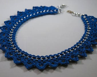 Necklace choker chain and Blue Thread