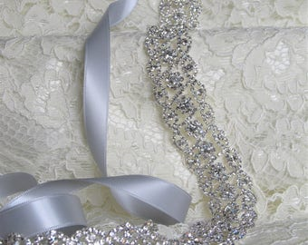 Silver Crystal Rhinestone Bridal Sash,Wedding sash,Belts And Sashes,Bridal Accessories,Bridal Belt,Style # 16