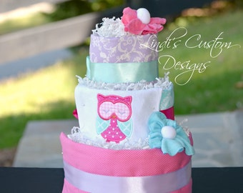 Owl Diaper Cake, Girl Diaper Cake, Girl Owl Diaper Cake Table Centerpiece Gift, Embroidered Baby Gift, Pink Owl Baby Gift, Owl Baby Shower