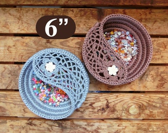 "Yin yang jewelry dish crochet Pattern 6"", crochet home decor, gift for her. Jewelry plate Photo Tutorial, Instant Download PDF."