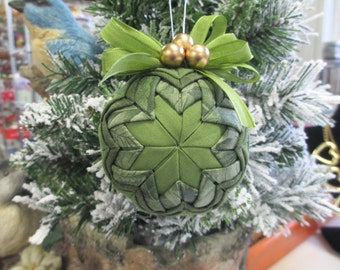 Christmas Fabric Ball ornament Camouflage fabric with olive green ribbon bow and gold beads