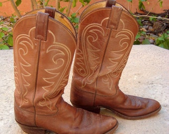 Vintage Mens Justin Western Cowboy Boots Brown Leather Size 9 1/2 D