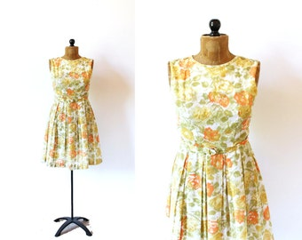vintage dress 50's floral print sleeveless orange olive green 1950's women's clothing size s small
