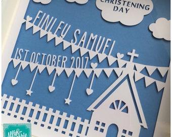 Personalised Christening Paper Cut Frame, Christening gift, Christening keepsake