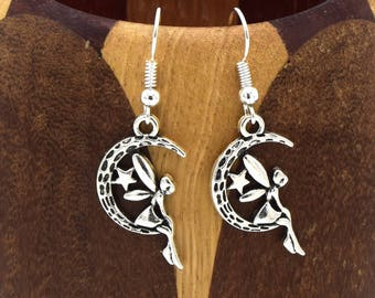 Crescent Moon with antique silver fairy, children jewelry, costume jewelery earrings