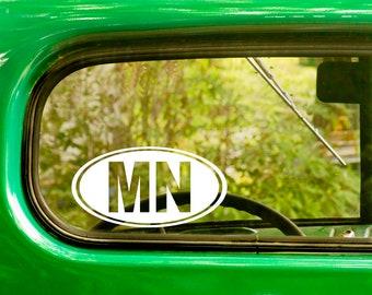 2 Oval MN Minnesota Decals Stickers Die Cut Vinyl For Car Window Bumper Truck Rv Laptop Jeep 4x4