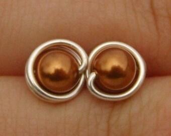 Small Copper Pearl Stud Earrings (7mm), Swarovski Pearl Stud Earrings, Wire Wrapped Sterling Silver Stud Earrings, Copper Stud Earrings
