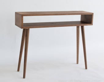 Petite Mid-Century Inspired Console Table, Entry Table, Sofa Table, Walnut Color, MidCentury Reclaimed Hardwood Table