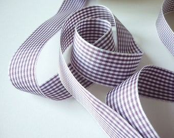 25 mm pink checkered gingham Ribbon - sold by the yard - produced in France