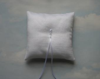 Ring pillow. White sparkle ring cushion. Winter wedding.