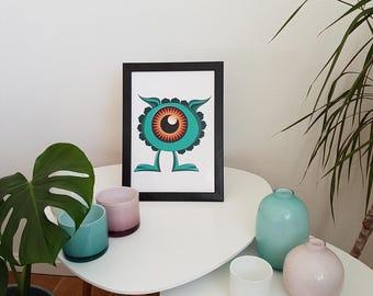 Arimaspian Monster, cute monster print, funny kids art, monster illustration, funny nursery art, kids room deco funny poster, Creature