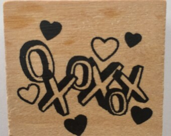 "Rubber Stamp ""xoxoxo"", Wood Mounted, 2 Inches by 2 Inches, For Card Making, Stationery Stamping, Scrapebooking, Or Fabric Bags"