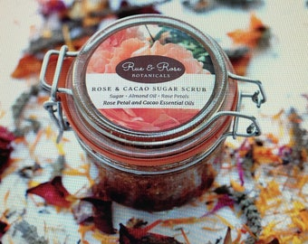 Brown Sugar Scrub Handmade with Cacao Oil, Rose Hip Oil and Rose Petals for Body