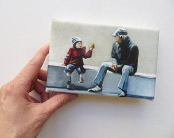 grandchild and grandfather mini canvas art print