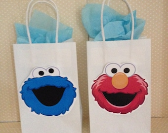 Sesame Street Favor Party Bags with Handles - Set of 10
