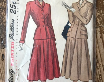 1940s Vintage Original Simplicity 2324 Suit Sewing Pattern