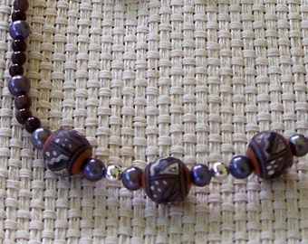 Handmade Purple and White Southwest Painted Clay Beads with Purple Pearls and Silver Beads Necklace