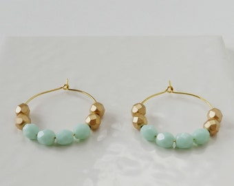 Mint and gold hoop earrings, beaded hoops, boho style hoops