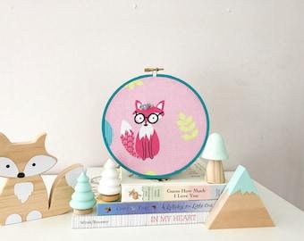 Fox Decor, Embroidery Hoop Art, Pink Fox, Folk Art Inspired, Home Decor, Baby Girl Gift Idea, Hipster Baby Wall Art, Woodland Nursery Decor