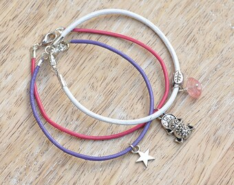 Lucky Frog Charm Leather Bracelet Trio