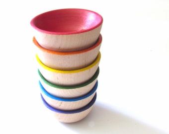 Rainbow Sorting Bowls - Miniature Rainbow Bowls for Play Kitchen - Play kitchen bowls