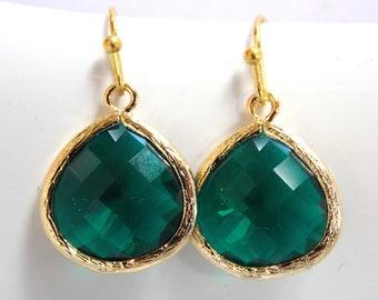 Green Emerald Earrings, Glass Earrings, Green Earrings, Gold, Dark Green, Bridesmaid Earrings, Bridal Earrings Jewelry, Bridesmaid Gift