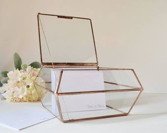 Large Glass Box, Wedding Card Box, Clear Glass Jewelry Box, Truncated Pyramid Box, Gift For Girlfriend, Glass Box by jacquiesummer