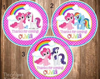 My Little Pony Thank you Tags, Printable My Little Pony Tags, Little Pony Party, Personalized Stickers - CHOOSE FROM 3 DESIGNS