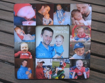 Personalized Father's Day Gift, Unique Mother's Day Gift - Baby Picture Frame, Baby's First Year, Custom Baby Collage, Dad Birthday Frame