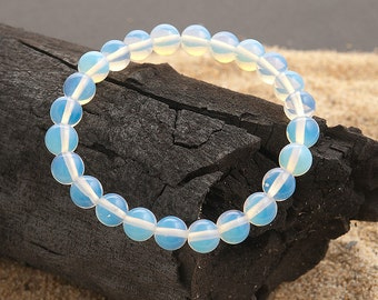Stretch bracelet opaline 8mm round beads   elastic beaded bracelet