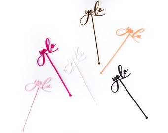 YOLO, You Only Live Once Cocktail Swizzle Sticks, Stir Sticks, Laser Cut, Acrylic, 4 Ct.