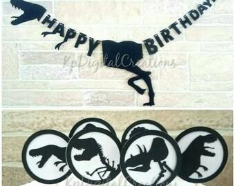 Dinosaur birthday banner, Dinosaur cupcake toppers, Dinosaur party, Jurassic world, Jurassic Park, Dinosaur decor, Jurassic park birthday
