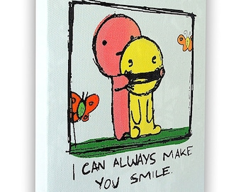 """I Can Always Make You Smile - On a Stretched Wooden Canvas Frame - 8"""" x 7"""" x 05"""" (Light Gray)"""