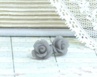 Gray Rose Studs Rose Stud Earrings Gray Rose Earrings Surgical Steel Studs Gray Flower Earrings Rose Jewelry