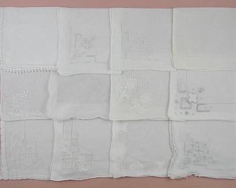 Wedding Hanky Lot,Vintage Hanky Lot,One Dozen White Wedding Vintage Hankies Handkerchiefs (Lot #99)