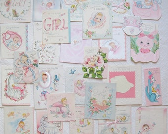 Lot of 25 Vintage Baby Girl Congratulations Cards