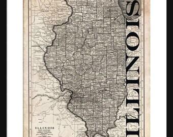 Illinois Map - Map of Illinois - Poster - Print - Sepia