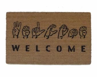 ASL American sign language welcome doormat fun