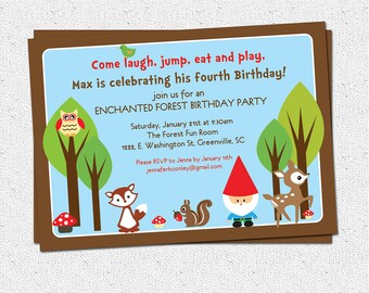 Printable Woodland Birthday Invitation, Enchanted Forest, Gnome, Boy, Girl, Deer, Owl, Squirrel, DIY digital file