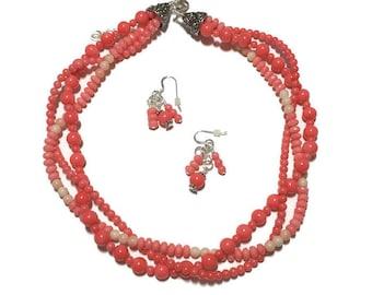 Coral Multi-strand Necklace set