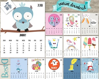2018  kids calendar,2018 funny printable calendar,12 pages monthly calendar,nursery funny calendar,Instant Download 2018 hand drawn calendar