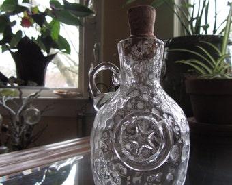 Silver Star-Gazer Glass Bottle