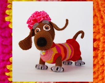 Amigurumi Dog Pattern. Crochet Tabby Lady dog. Amigurumis dachshund tutorial. Crochet dachshund pattern. Colorful knitting kids Toy. DIY kit